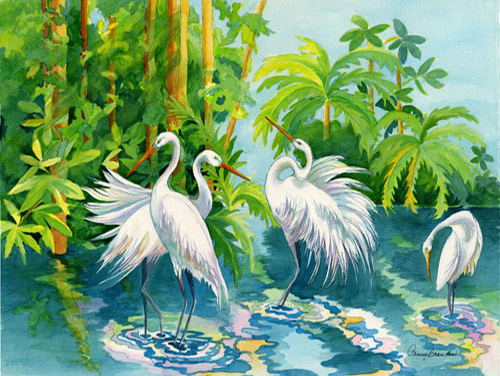 Four White Herons